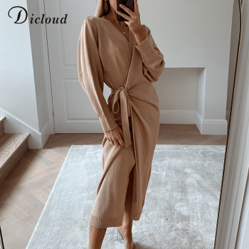 DICLOUD Long Women Knitted Wrap Dress 2