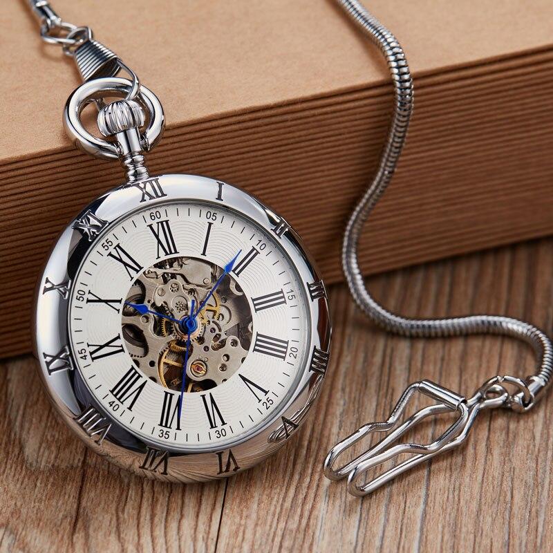 Relógio de Bolso Relógios de Bolso Luxo Cobre Prata Automática Mecânico Fob Corrente Relógio Masculino Números Romanos Alta Qualidade