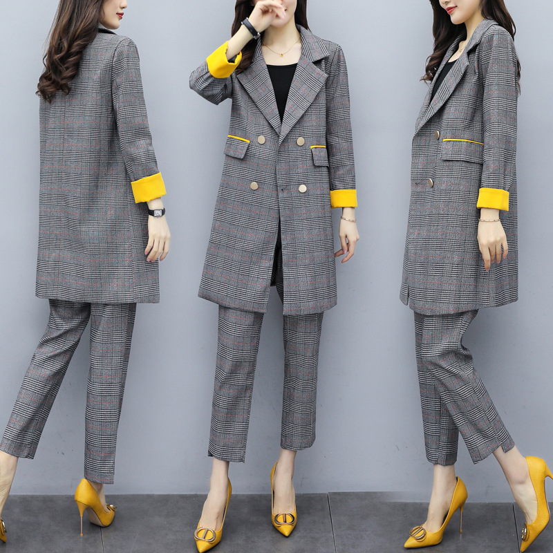Women's Suits Pants Suit 2019 Korean Version Of The Autumn Slim Plaid Long Jacket Suit Casual Trousers Blazer Female Two-piece