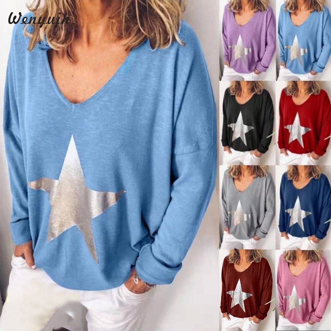 Wenyujh 2019 Fashion Autumn Women's Blouses Casual Star Print Long Sleeve Women Tops Loose V-Neck Shirt Blouses Camisas Mujer