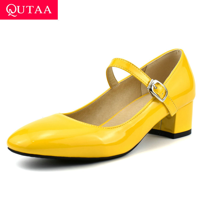 QUTAA 2020 Buckle Square Heel All Match Single Shoes PU Leather Spring Ladies Pumps Round Toe Shallow Women Shoes Big Size 34-43