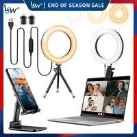 Selfie טבעת אור 2-Pack עם טלפון חצובה מחזיק Stand USB צילום אור עבור Youtube תמונה/מחשב/מחשב נייד/מרחוק עבודה