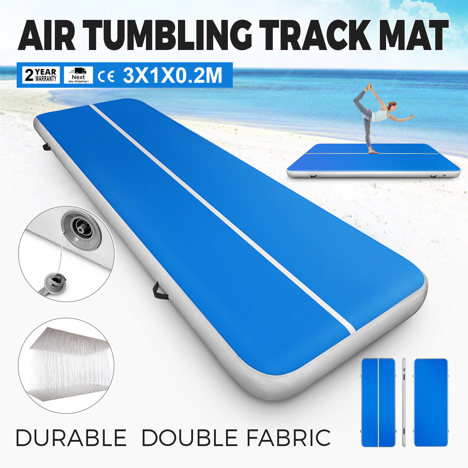 Vevor 3M Blue Inflatable Air Tumbling Track GYM Exercise Mat Yoga Mat