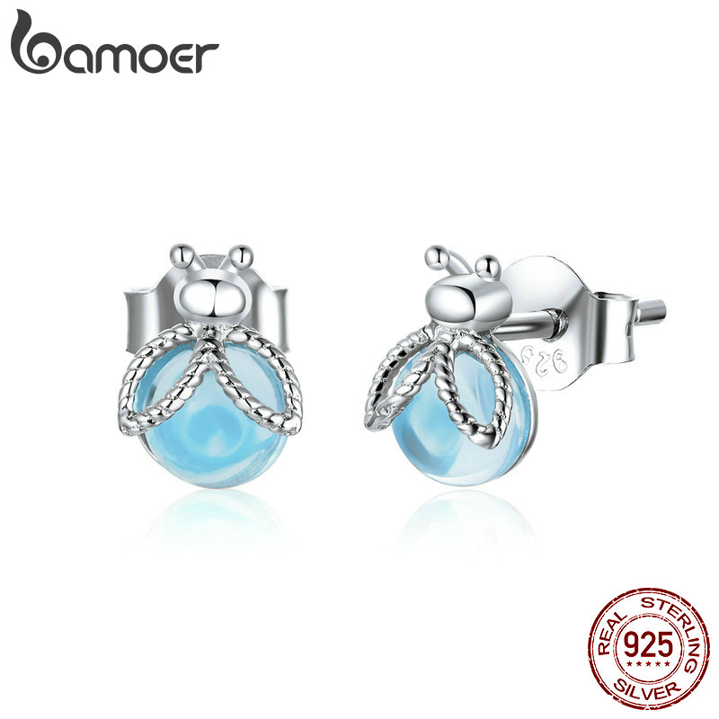 Bamoer Genuine 925 Sterling Silver Insect Fireflies Stud Earrings For Women Original Design Fine Jewelry Bijoux Brincos Bse366 Super Sale 67a0 Cicig
