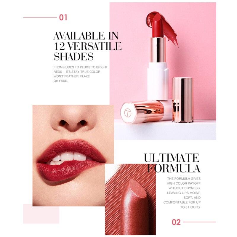 O TWO O Semi Velvet Lipstick Nude Rich Color Waterproof Moisturizing Long Lasting Lightweight Lips Makuep