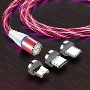 Image 2 - Câble magnétique 3A Usb Micro et Type C pour recharge rapide et données, éclairage lumineux, compatible avec iphone 11 XS Xiaomi