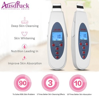 LCD Ultrasonic Peeling Cleanser Acne Removal Pore Peeling Tone lift Vibration Massage Dead Skin Removal Galvanic Facial Spa