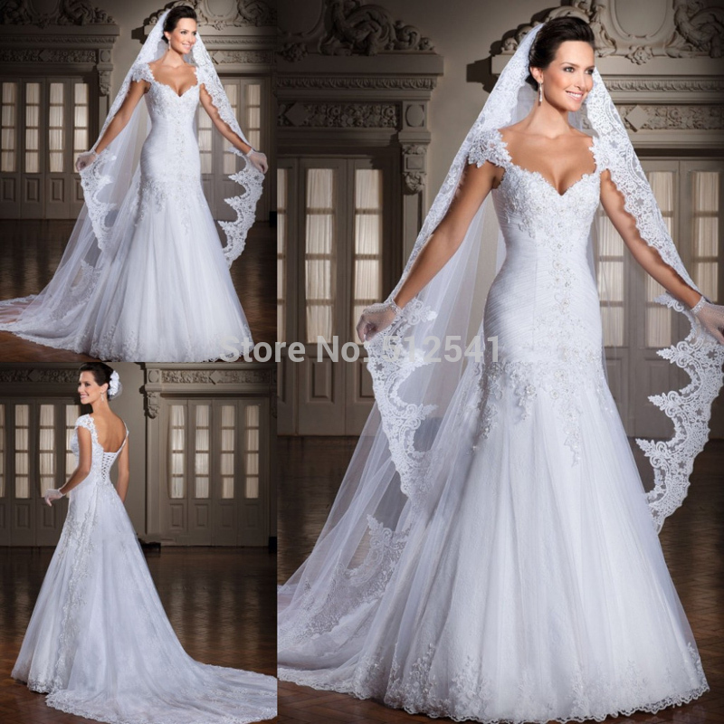 Cap Sleeve White Wedding Dresses 2019 Trumpet Sweetheart Lace Applique Beads Pleats Sweep Train Bridal Gowns Vestido De Noiva