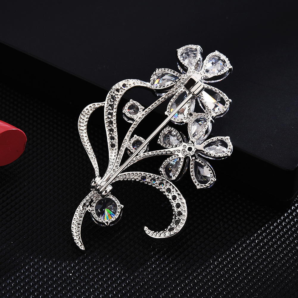 Bad Guy Sliver Flower Zircon Brooch Pin Shiny Flowers Brooch Jewelry Clothes Scarf Buckle Garment Accessories Fine Jewelry Gifts-4