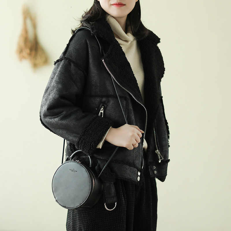 MAX Lulu ฤดูหนาวเกาหลีแฟชั่นสุภาพสตรี Faux หนังแจ็คเก็ตสตรี VINTAGE PU ขนสัตว์ Thicken BIKER Suede เสื้อผ้า