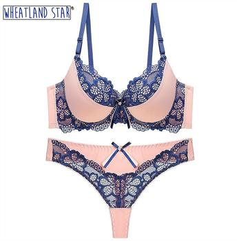 Lingerie Femme Sexy Erotique Sexy Lace Bra and Panty Set Underwire Push Up Bra and Thong Set Intimate Underwear Women's Lingerie lace sheer lingerie thong bra set