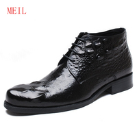 Large Size39 48 Crocodile Pattern Leather Boots Cowboy Boots Mens Pointed Toe High Top Lace Up bussiness Dress Shoes Botte Homme