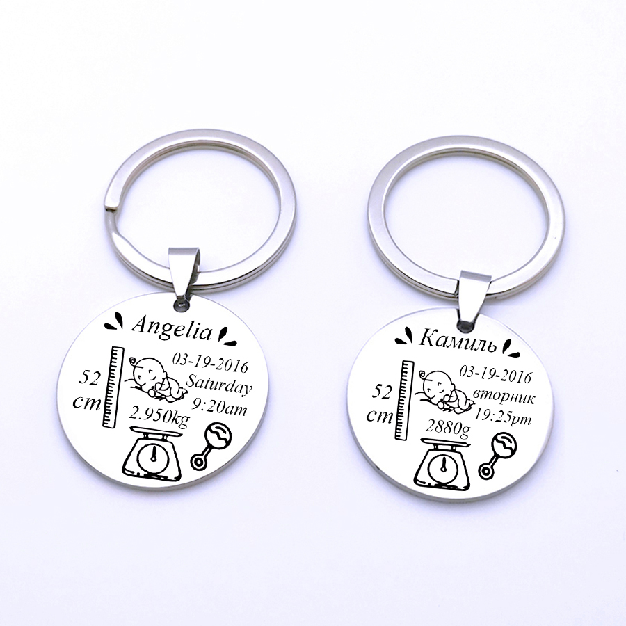 Custom Baby Date Of Birth Keychain Newborn Keepsake Keyring New Dad Mom Gift Baby Child Commemorate Gift Key Chain Dropshipping