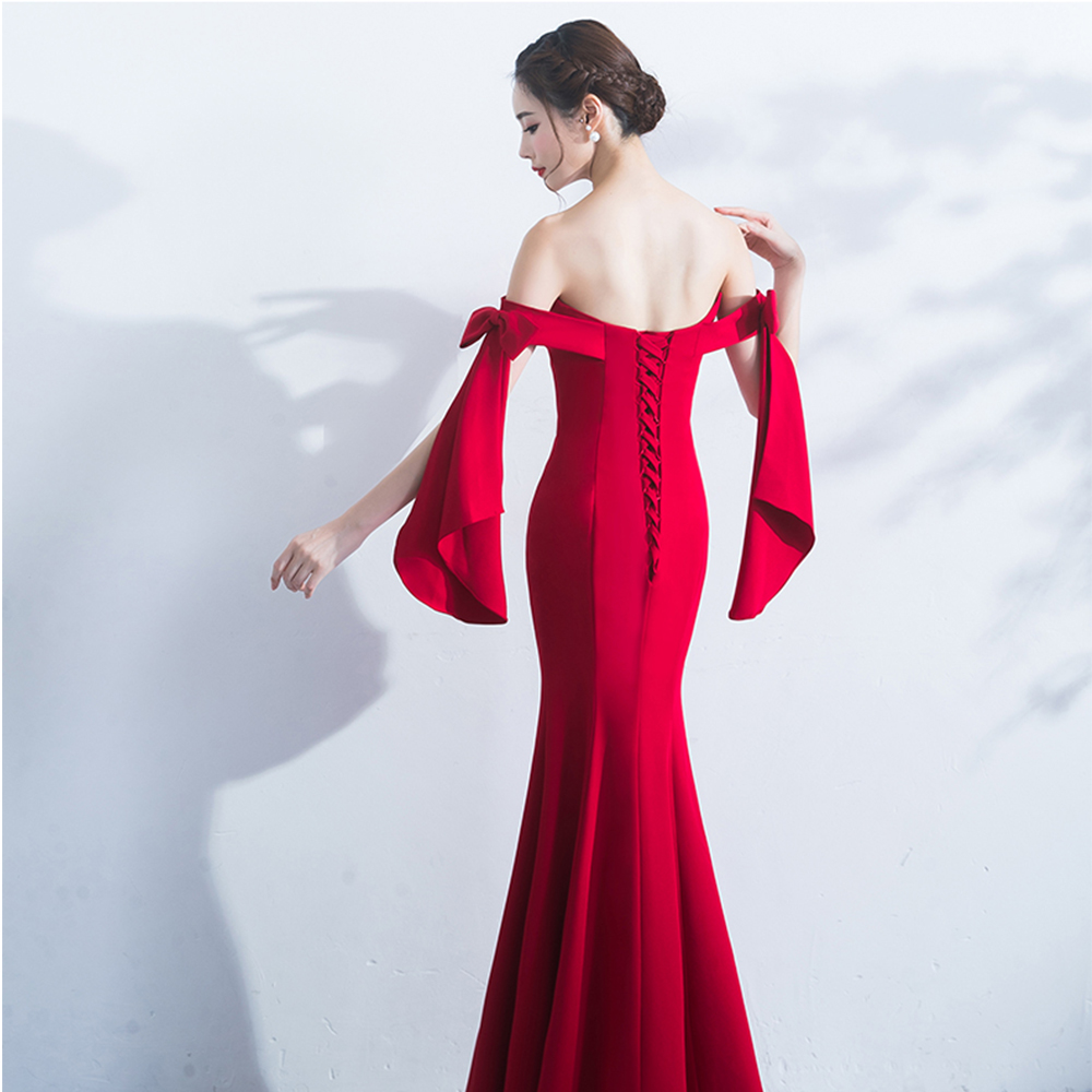 Evening Dress Sleeveless Robe De Soiree Backless Lace Up Women Party Dresses 2019 Plus Size Off The Shoulder Formal Gowns F009 in Evening Dresses from Weddings Events