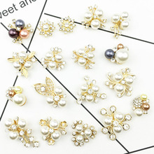 10pcs Gold silver Plated Pearls/Rhinestone Decoration Flowers Shape Diy Clothing Bag shoes decoration For Women Wedding Party H цена