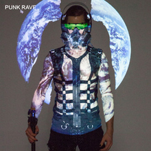 PUNK RAVE New Men's Black Skeleton Pu Personality Hollow-out Vest with Metal Leather Tab and Eyelet Trim Men Tank Tops Halloween