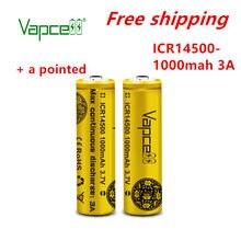 Vapcell original mini bateria de lítio 3.7v 14500 1000mah 3a bateria recarregável botão superior (adicionar um ponto) frete grátis