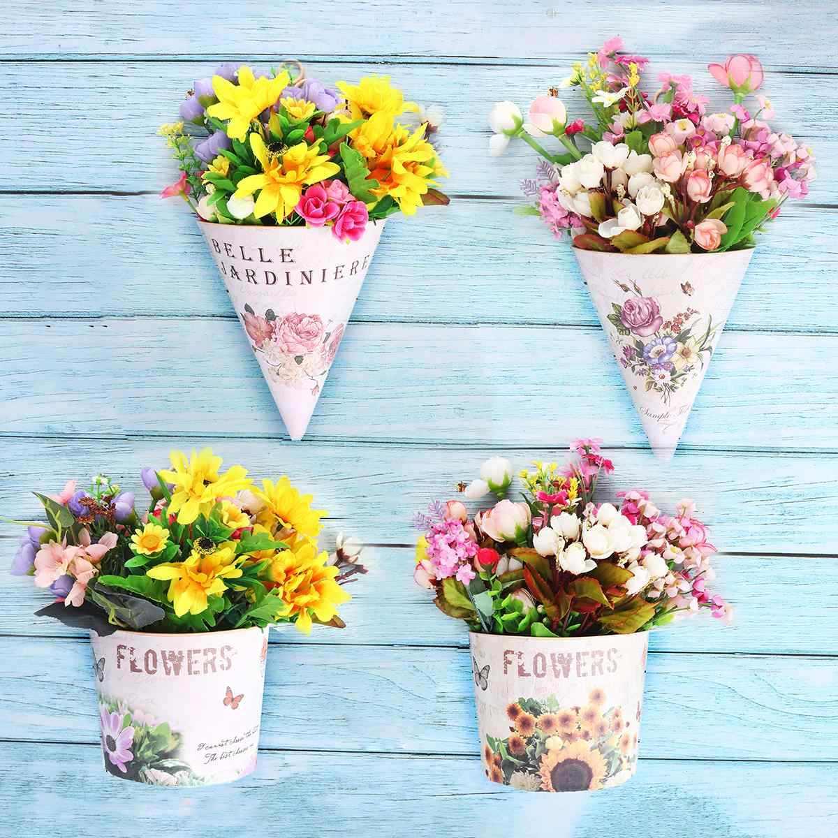 Plastic Wall Hanging Flower Vase Pot Holder Wall Flower Basket Home Decor