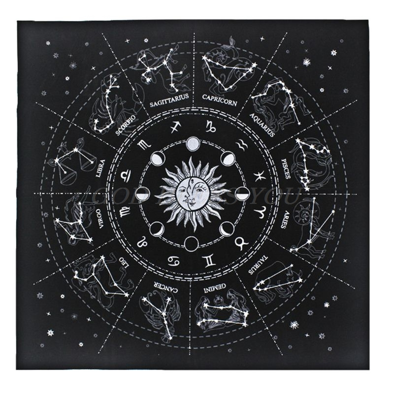 New Tarot Tablecloth 12 Constellations Fortune Astrology Stars Divination Tarot Card Pad Flannel 49*49cm