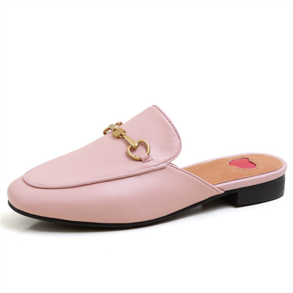 Top Quality Full Genuine Leather Shoes Women Slipper Metal Decoration Fashion Brand Shoes Mules Casual Flat Shoes Ladies Slipper