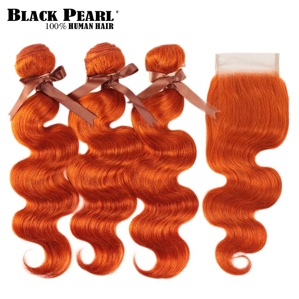 Black Pearl Orange Bundles With Closure Malaysian Body Wave Remy Human Hair Weave Orange Bundles With Closure
