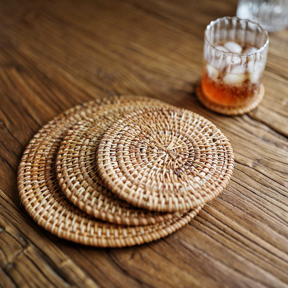 קש מפית Coaster מטבח שולחן קערת מחצלת עמיד יד ארוג בידוד קפה כוס רכבת מחצלת קומקום 4 גדלים
