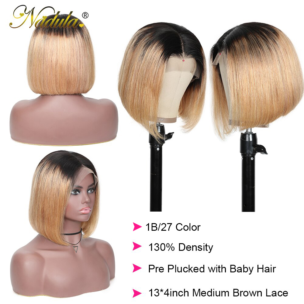 Nadula Wig T1B27 & 1B/4 Ombre Short Lace Front Wig 13*4 Straight  Bob Wig Pre Plucked Short Wigs for Black Women 3