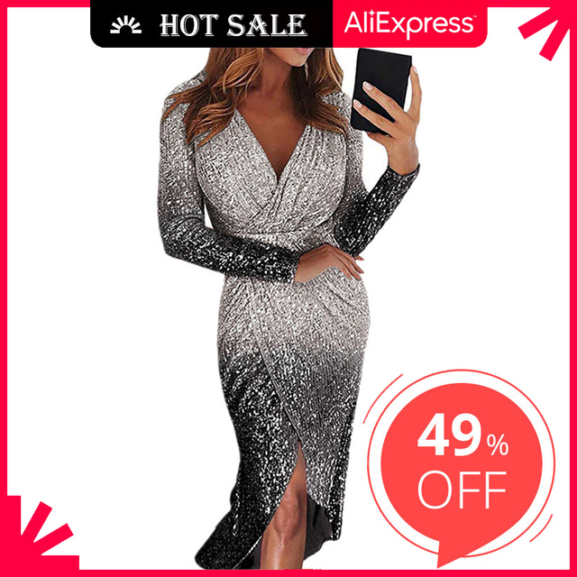 Movokaka Night Dress Women 2021 Long Sexy Sequins Dresses For Women Party Gradient Color Dresses Woman Long Sleeve Women's Dress 1