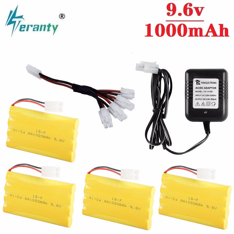 Upgrade 9.6v 1000mah NiCD Battery + Charger For Rc Toys Cars Tanks Trucks Robot Gun Boat AA Ni-CD 9.6v Rechargeable Battery Pack