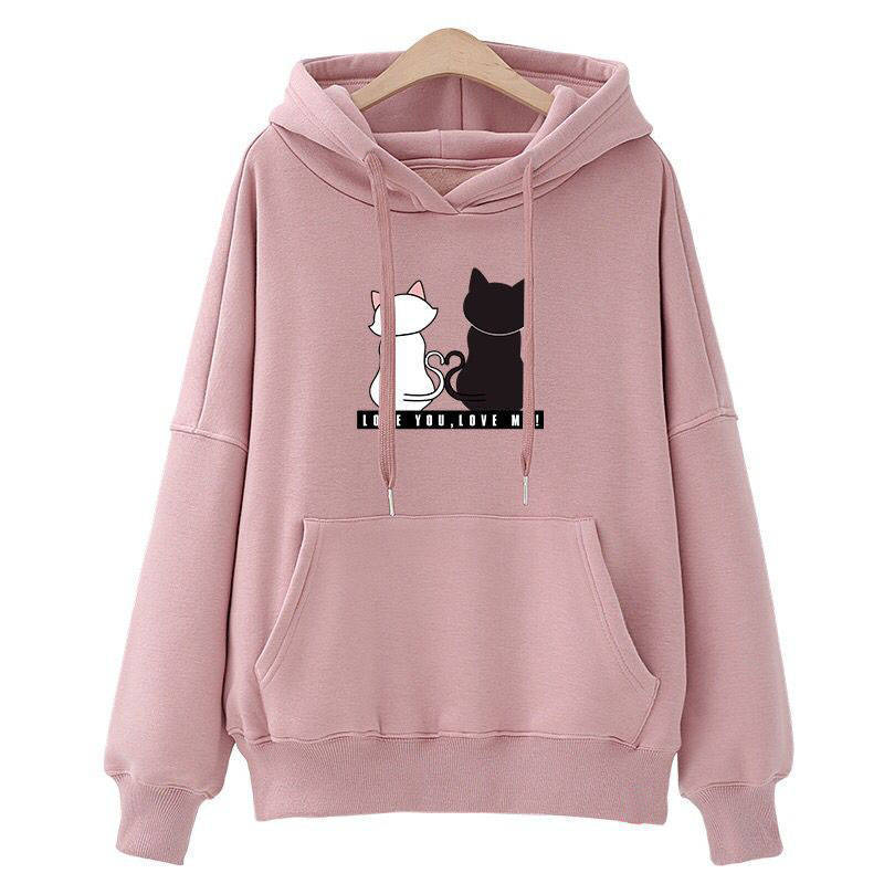 New Women's Fashion Warm Tops Autumn Winter Casual Hooded Coat Loose Sweatshirt Cat Pattern Pullover Sweatshirts