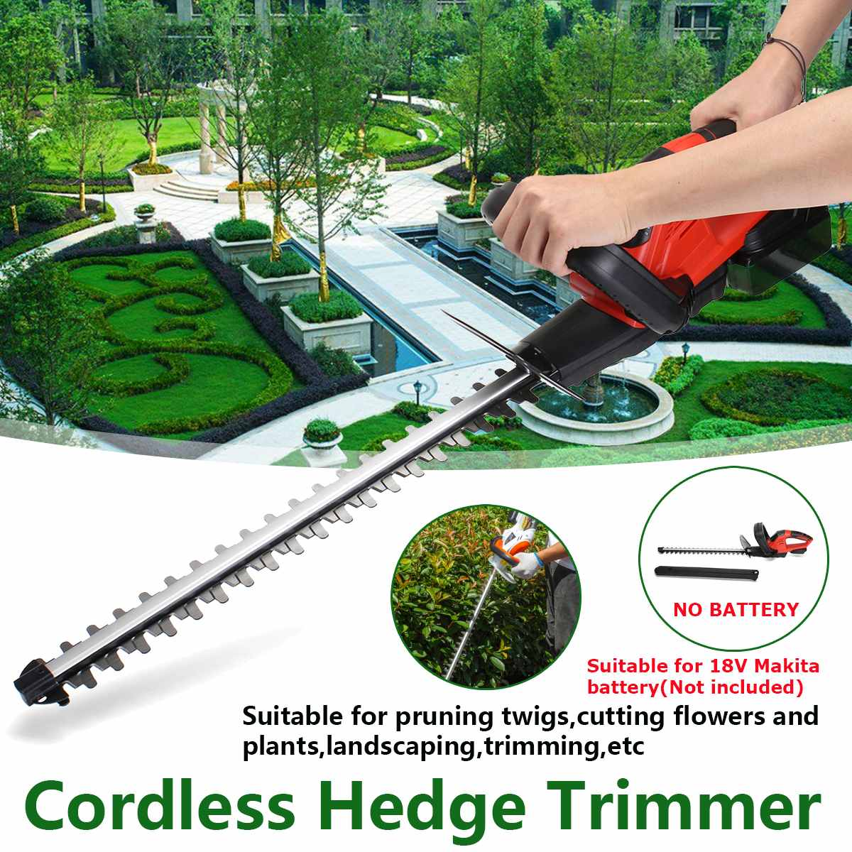 21V Electric Cordless Household Trimmer Hedge Trimmer For 18V Makita battery Electric Trimmer Pruning Saw Garden Tools   Blade