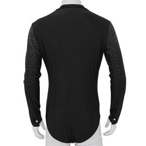 Image 4 - Мужская рубашка для латиноамериканских танцев, с v образным вырезом и стразами, одежда для бальных танцев, одежда для профессиональных конкурсов