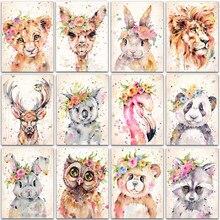5D bricolage diamant peinture animal lion panda lapin flamant rose complet carré et rond diamant broderie point de croix diamant mosaïque peinture
