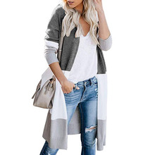 New Fashion 2019 Ropa Mujer Women Knitted Cardigan Sweater Long Sleeve Patchwork Casual Outwear Coat