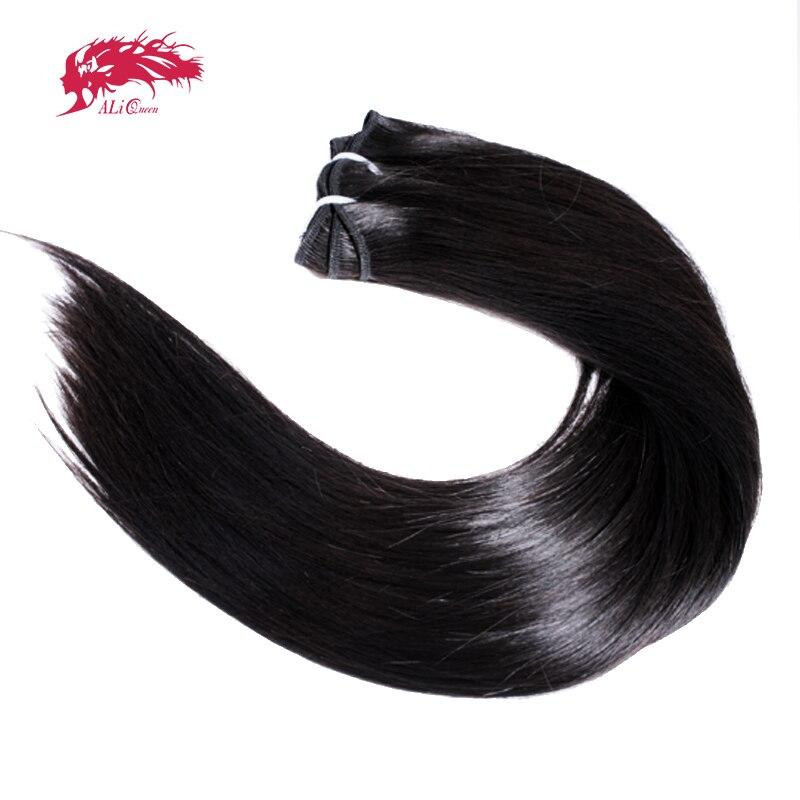 1 шт. Ali Queen волосы прямые необработанные чистые человеческие волосы Комплект Unproccessed человека Волосы Remy саржевого переплетения для Для женщи...