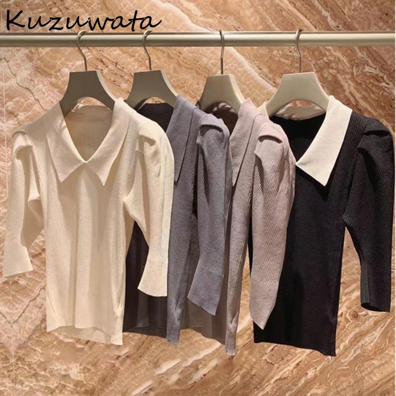 Kuzuwata 2021 Autumn New Fashion Sweet Jumper Turn Down Collar Half Sleeve Slim Ribbing Knitted Pullover Japanes Women Sweaters