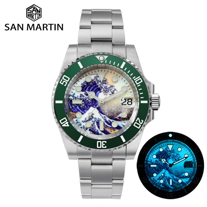 San Martin Diver Water Ghost Luxury Sapphire Crystal Men Automatic Mechanical Watches Ceramic Bezel 20Bar Luminous Date Window 3