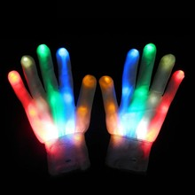 Adult Halloween Unique LED Luminous Gloves Lighting Flashing Finge Colorful Skeleton Dance Club Party Supplies