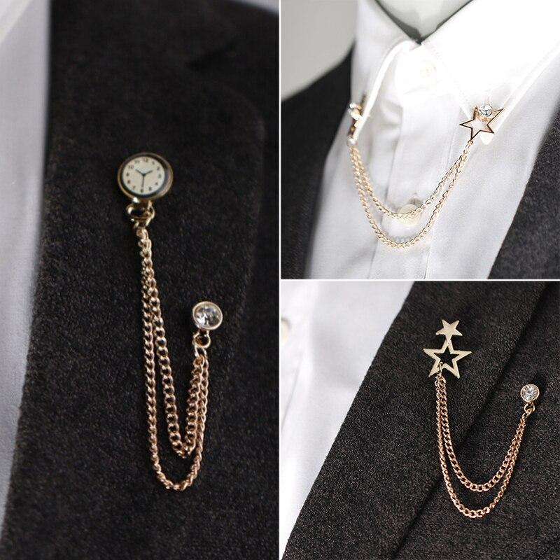 Брошь в корейском британском стиле с изображением часов, цепочка с кисточкой для костюма, булавка для лацкана, Женский корсажный значок в ст...