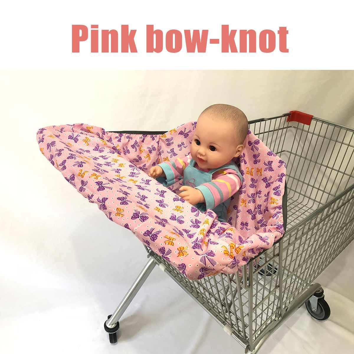Детская продуктовая тележка для малышей, детская тележка для покупок, Защитная крышка для тележки, защита сиденья, безопасные сиденья для детей - Цвет: Pink bow knot