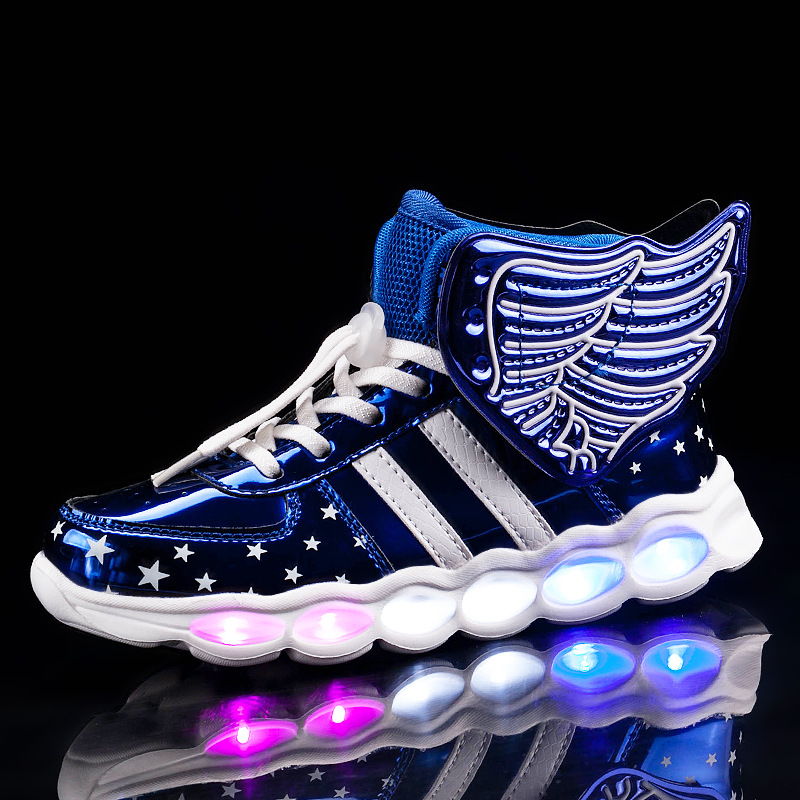 2020 Wings USB Led Shoes Kids Shoes Girls Children Boys Light Up Luminous Sneakers Glowing Illuminated Lighted Lighting