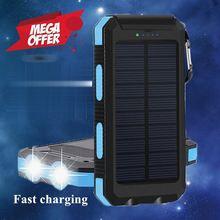 Solar Power Bank 20000mah Waterproof Powerbank External Battery Portable Charger Battery Bank Power Supply for Xiaomi Iphone стоимость