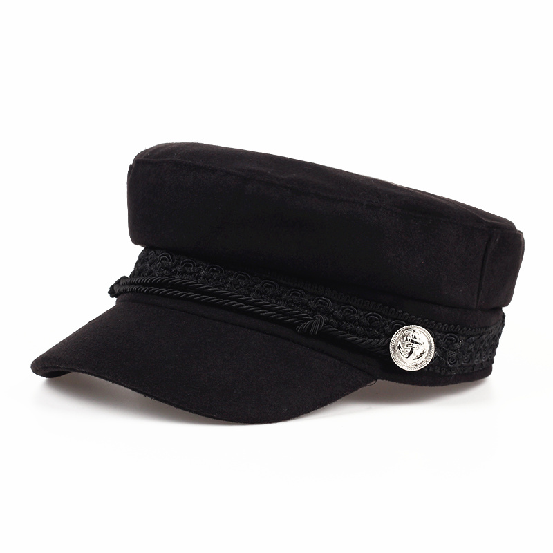 2019 Fashion Solid Visor Military Hat Autumn And Winter Vintage Wool Patchwork Beret Cap For Women England Style Flat Cap