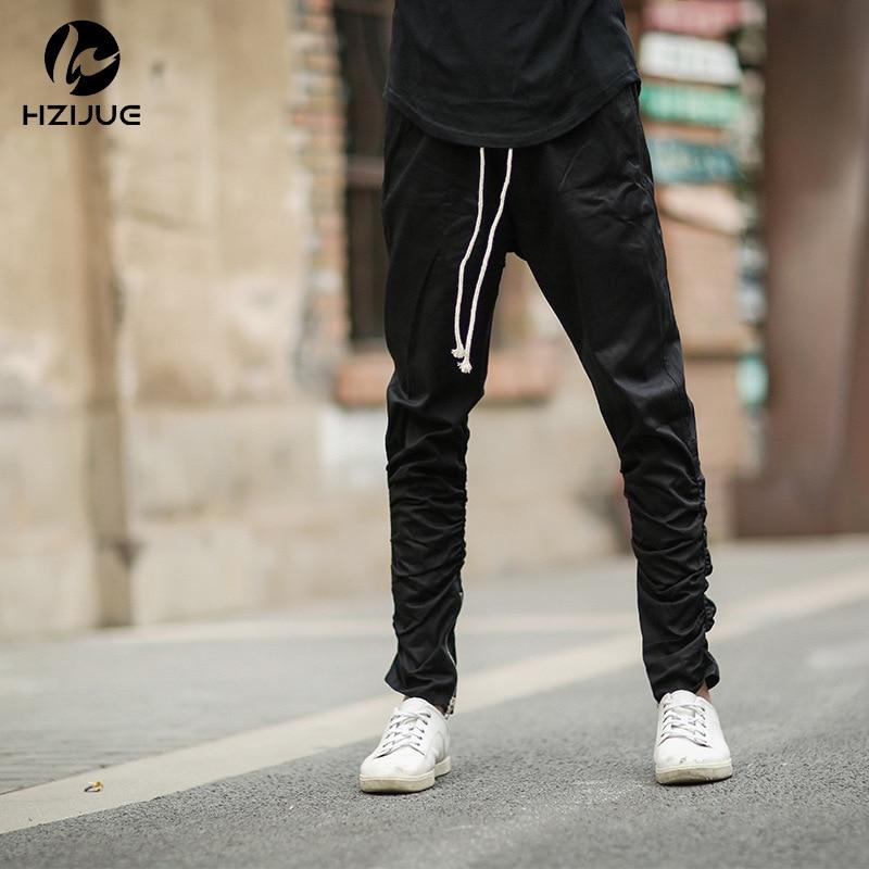2019 New Style High Street-Style Trend Jogger Pants Rubber Band Elasticity Leg Zipper Casual Pants MEN'S Casual Pants