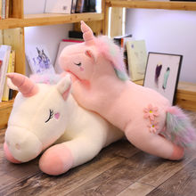 Giant Unicorn Toy Plush Fluffy Rainbow Hair Stuffed Animals Cartoon Flying Horse Bed Sleeping Boyfriend Pillow For Girl Child(China)