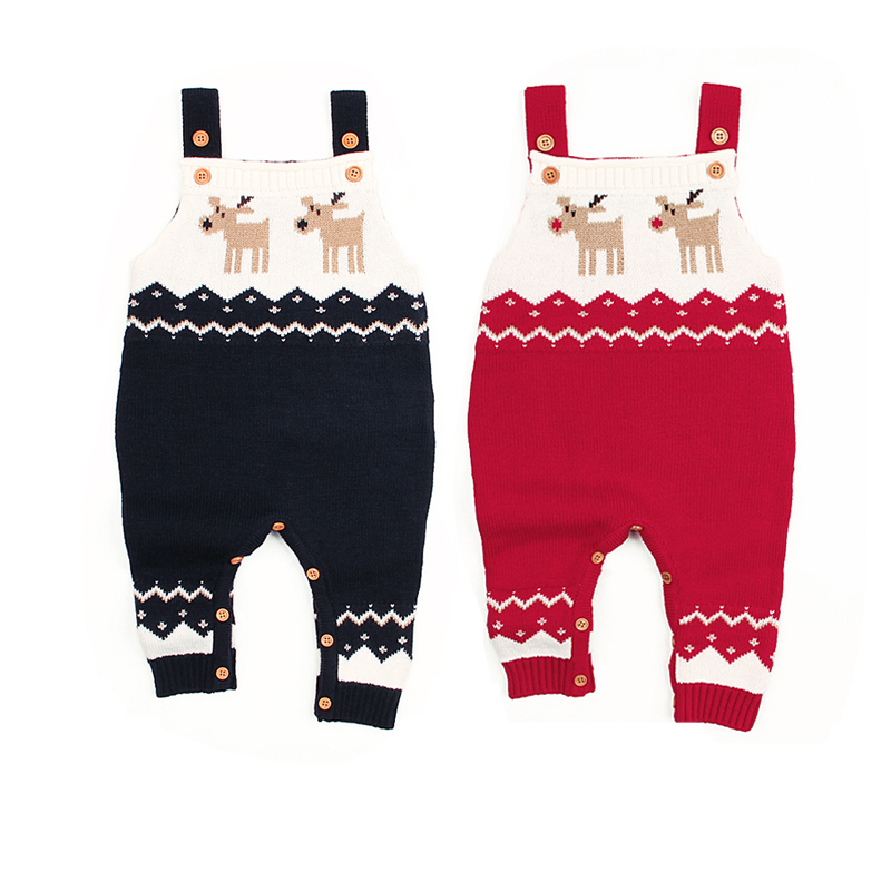 Autumn Winter Toddler Infant Baby Boy Girl Christmas   Romper   Sleeveless Knitting Print Deer Suspenders Warm Cotton Clothes 0-24M