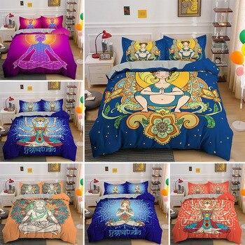 Juegos de cama bohemios 3d, funda nórdica de lujo para Yoga, meditación, con funda de almohada, 2/3 uds, ropa de cama cómoda para el hogar, textil