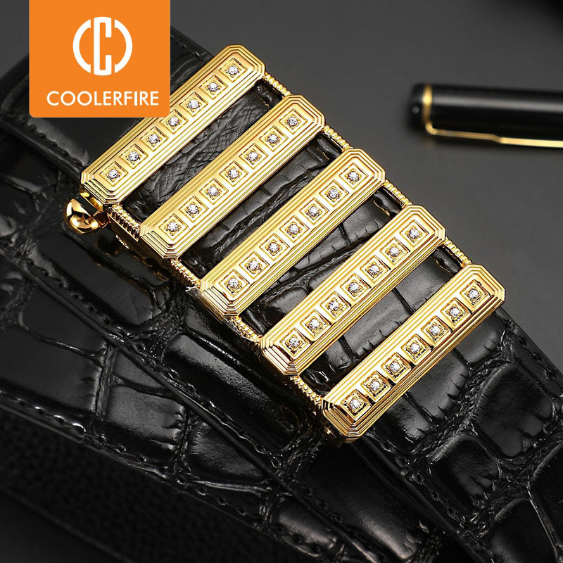 Men Belts Luxury Brand Gold Diamond Genuine Leather Automatic Buckle Belts for men High Quality Business Work Strap ZD127