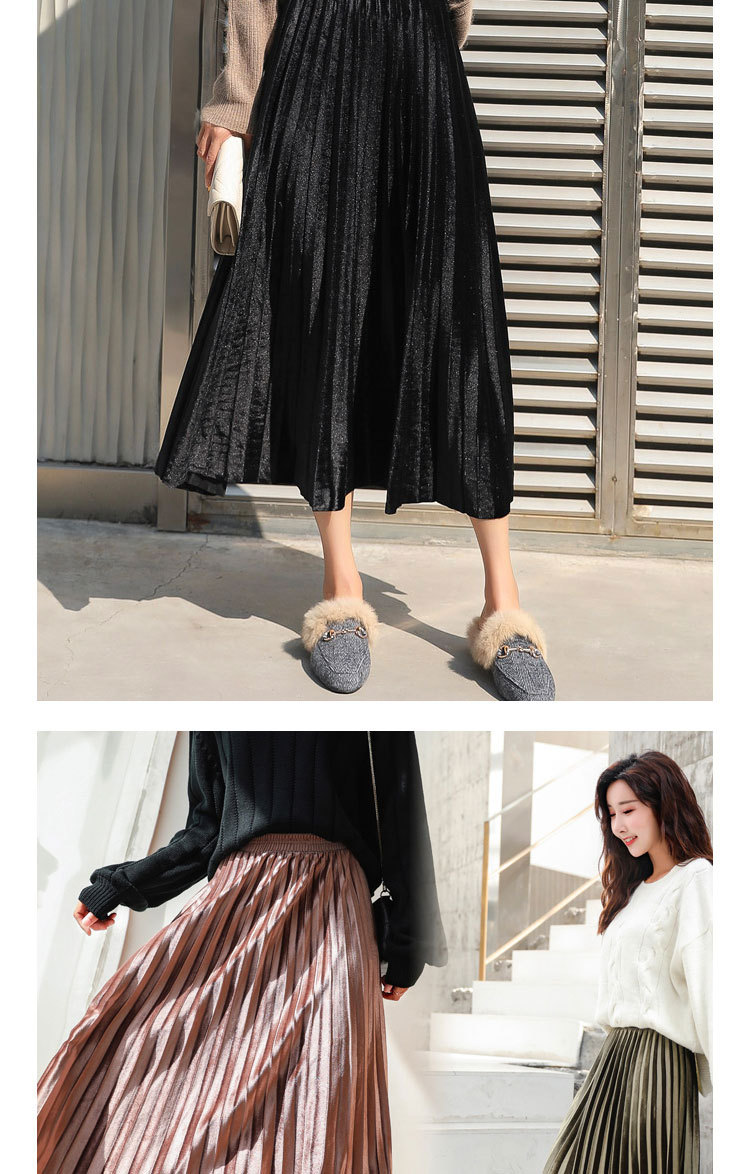 H7aa517a2116149e7866c11a3952fda6fp - Gold Velvet Long Skirt Women Fall Winter Korean Pleated High Waist Casual Loose Office Lady Clothes Bottoms Plus Size