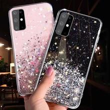 Glitter Stars etui na telefony do Samsung Galaxy A2 A01 rdzeń M11 A11 A21S A51 J2 J7 Prime M30S M21 A71 5G TPU epoksydowa przezroczysta okładka tanie tanio HUIHUA CN (pochodzenie) Aneks Skrzynki Translucent Matte phone Case Galaxy M30s Galaxy A11 Zwykły Przezroczysty Brokat